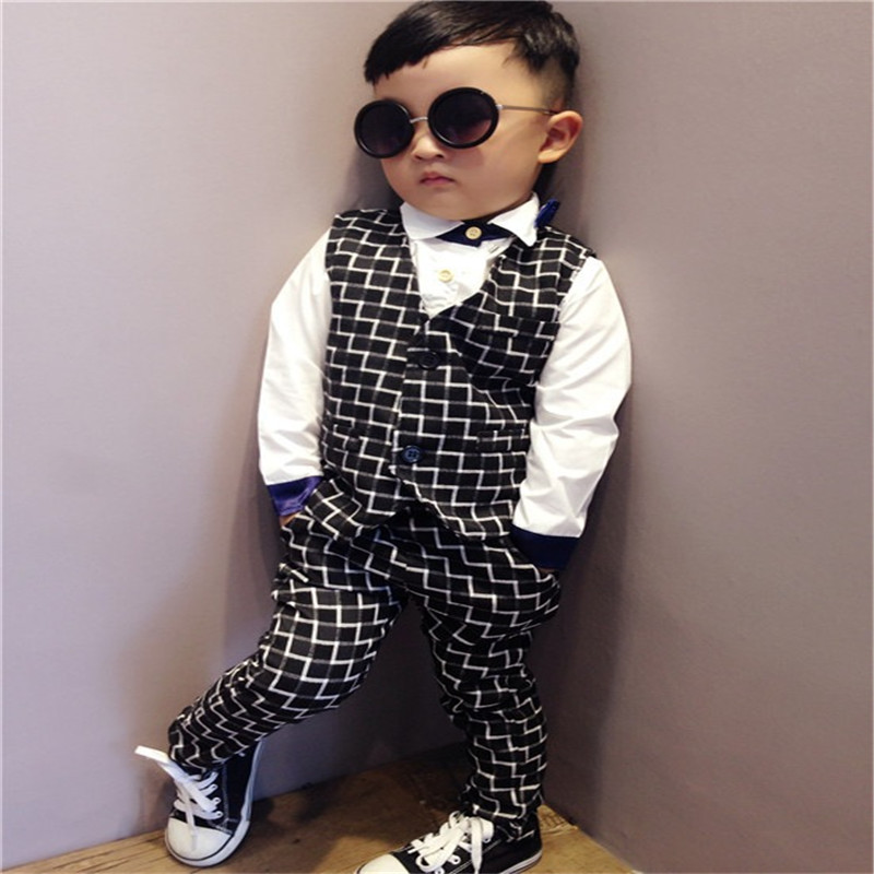 ed9d37a47 KIDS CITY Children Clothing Boys Casual Gentleman Fitted Vest + Trousers  Autumn 2015 Fashion Dress Business Suit Pant Set 2 7T-in Clothing Sets from  Mother ...