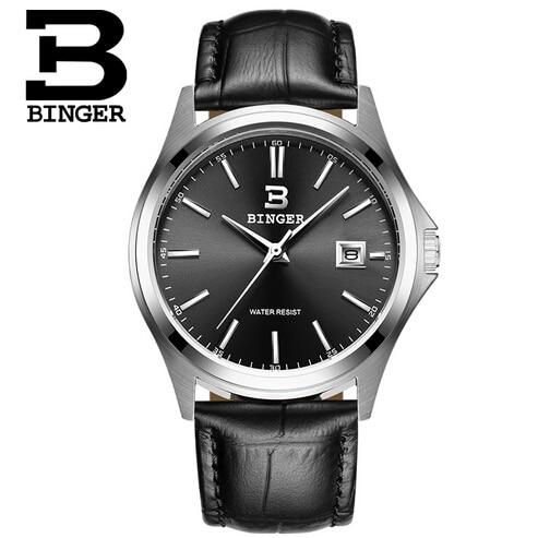Men luxury Geneva Binger watch leather Big Round Dial military quartz watches fashion business male Wristwatch relogio masculino