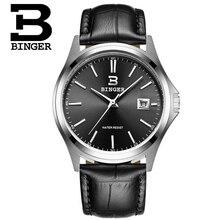 Мужчины роскошные Женева Бингер часы кожа Большой Круглый Циферблат военная кварцевые часы fashion бизнес мужчины Наручные Часы relogio мужской