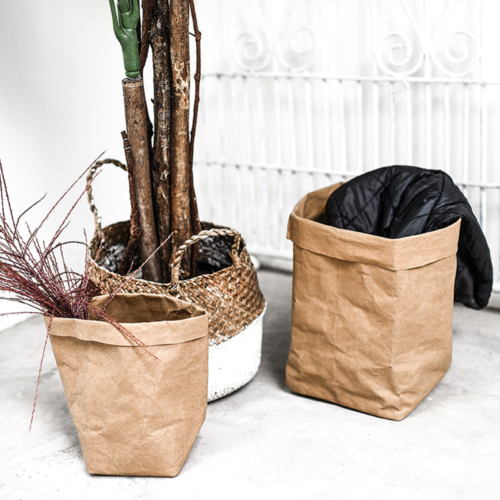 2019 Washable Kraft Paper Bag Cover Plant Flower Grow Pot Storage Pouch Multifunction Home Black pink Gold Gray A4