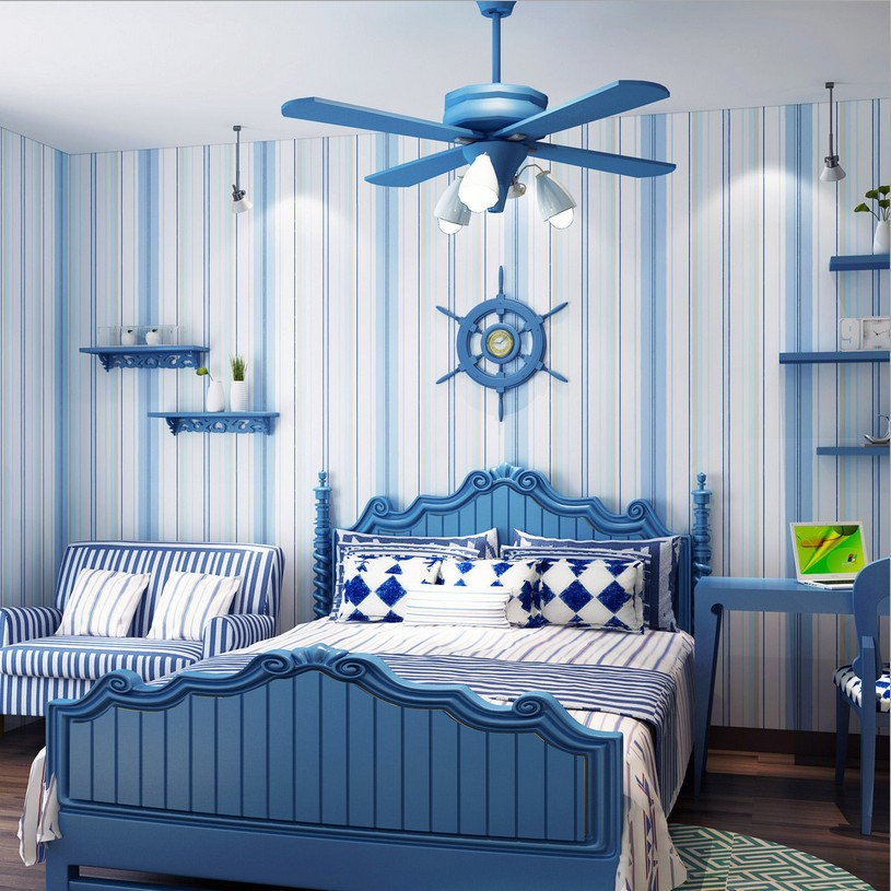 Contracted stripe Mediterranean wallpaper Non-woven wallpaper the bedroom Children room wallpaper boy sitting room wallpaper beibehang children room non woven wallpaper wallpaper blue stripes car environmental health boy girl study bedroom wallpaper