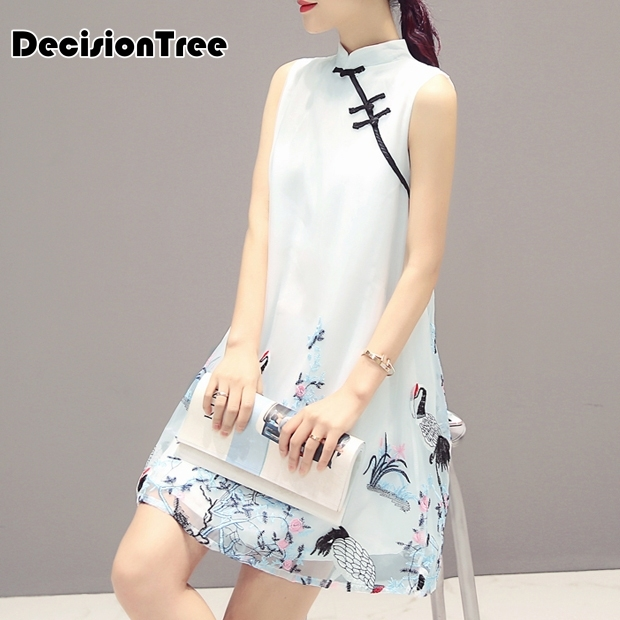 2019 new women lace satin cheongsam chinese traditional dress vestido sleeveless female embroidery qipao party evening dresses