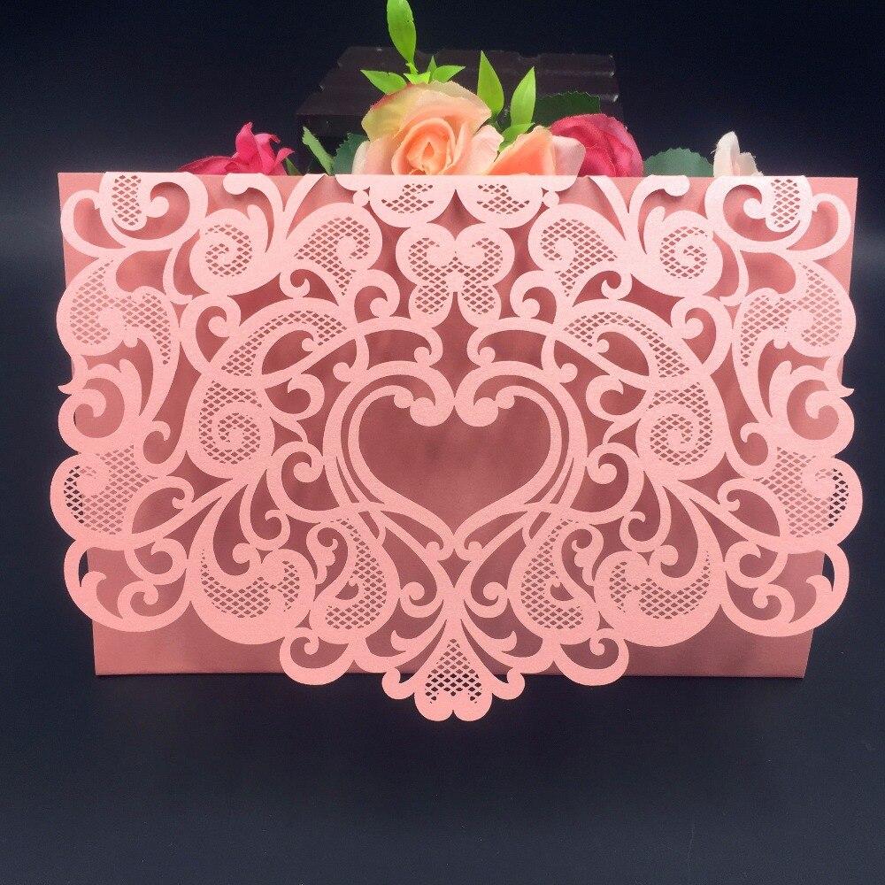 ᑐ50 adet romantik zarf tasarım düğün davetiyeleri kartları lazer ...