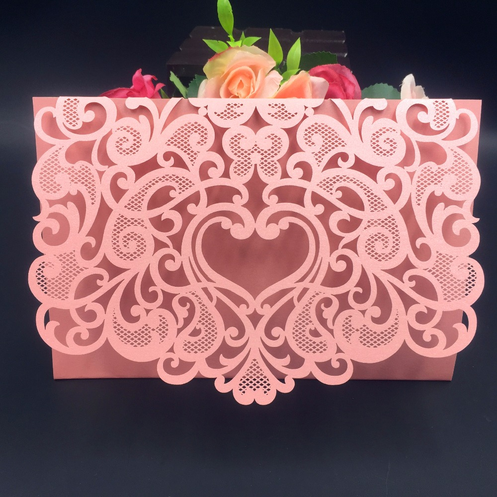 50pcs romantic envelope design wedding invitations cards laser cut ...