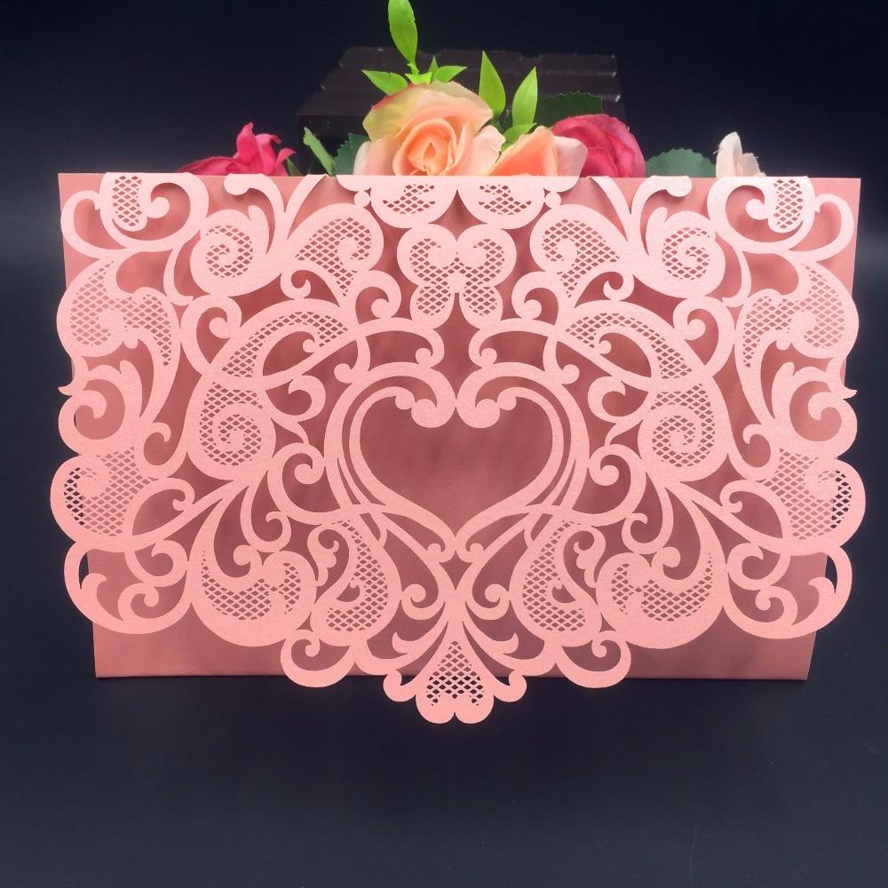 50pcs romantic envelope design wedding invitations cards