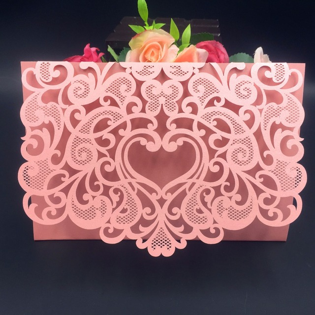 50pcs romantic envelope design wedding invitations cards laser cut love heart christmas card birthday greeting card