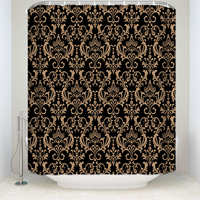 New Arrival Waterproof Vintage Printed Shower Curtain Polyester Fabric Black Gold Bathroom Curtains for Home Decorations