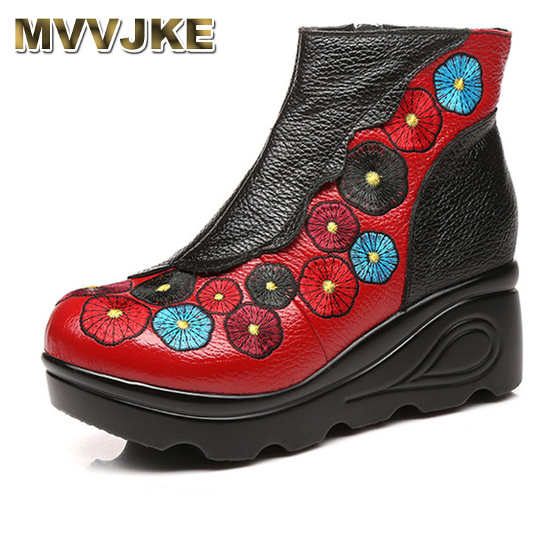 MVVJKE 2017 Autumn Winter Women High Heel Genuine Leather Boots Handmade Vintage Ankle Boots Flower Mother Shoes Zapatos Mujer da hong pao yancha большой красный халат уишань улун распродажа