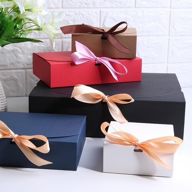 Multiple size Black White Kraft Paper Gift Box Package Wedding Party Favor Candy Boxes with Ribbon-in Gift Bags & Wrapping Supplies from Home & Garden