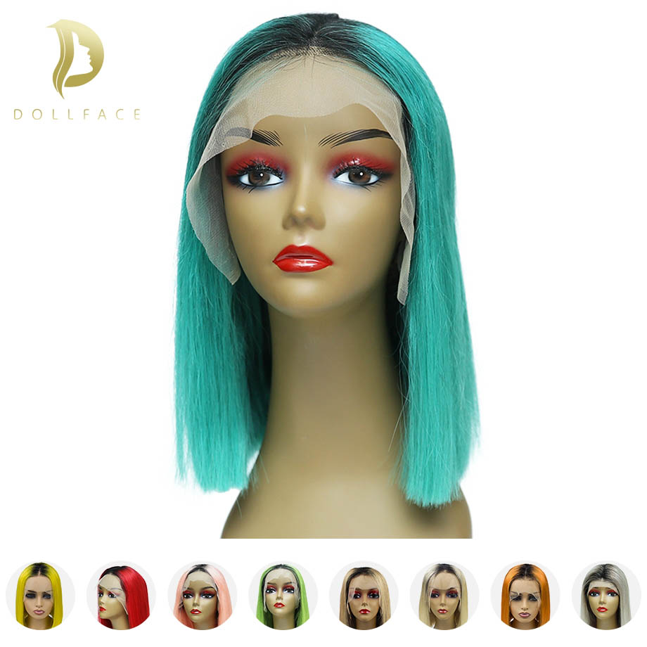 Human-Hair-Wigs Bob Wig Short Blonde Lace-Front Ombre Hairline Pre-Plucked Black Women