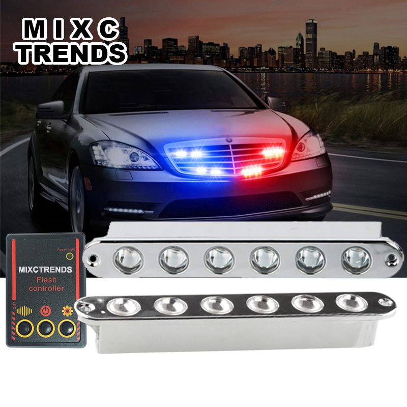 MIXC TRENDS 2x6LED DRL 12W Alunimun Chorme LED Emergency Strobe Light 12V White Red Blue Car Flashing Warning Day Lights свитшот trends brands base trends brands base свитшот