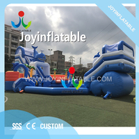 Giant inflatable water slide with a big swimming pool,inflatable ground amusement park slide combo for sale