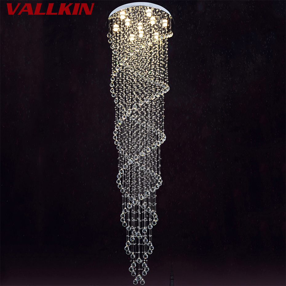 Modern Crystal LED Pendant Light Luxury Double Helix  Design Stairs Hallway Suspension Crystalline Lights Indoor Decorative Lamp hot selling perforated lustres de teto european luxury double helix stair pendant lights 100% crystal guarantee