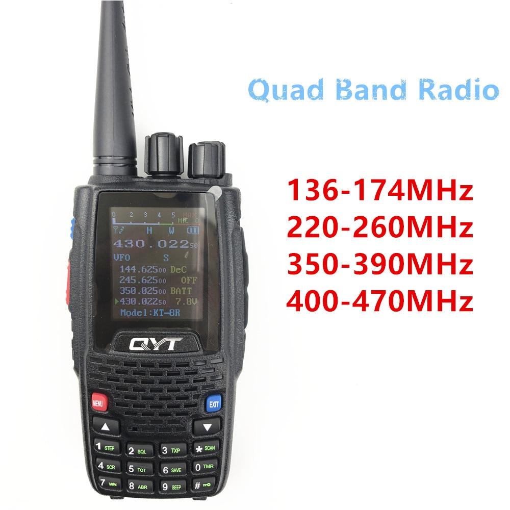 Qyt KT-8R quad band rádio handheld 136-174mhz 220-260mhz 400-480mhz 350-390mhz 5w visor a cores rádio em dois sentidos kt8r