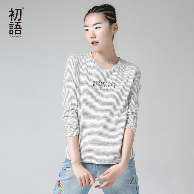 Toyouth t shirt Mulheres Manga Comprida O Pescoço Listrado de Algodão Puro T-shirt Tops Tees camisetas mujer
