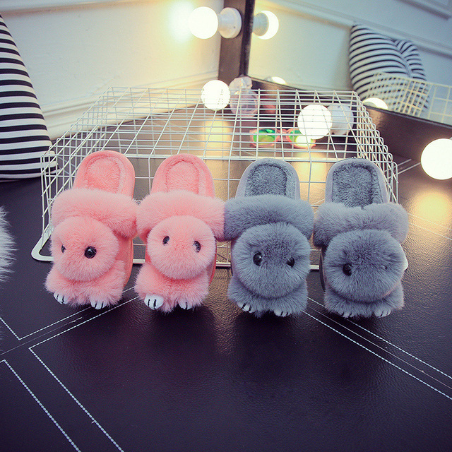 Mother and Child Slippers Comfortable Cartoon Rabbit Child Slippers Adult Slippers Warm Soft Bedroom Plush Shoes  #8
