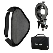 Godox S-Type Flash Speedlite Bracket Mount Holder + 60 x 60cm Softbox for Studio Photography godox 50cm 130cm strip beehive honeycomb grid softbox with for bowens mount studio strobe flash light photography lighting