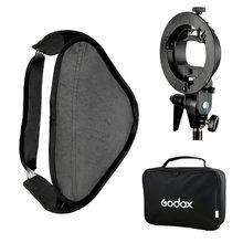 Godox S-Type Flash Speedlite Bracket Mount Holder + 60 x 60cm Softbox for Studio Photography godox gemini gt400 professional slr studio flash professional