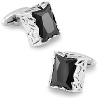 SPARTA Black Stone+ White Gold Electroplated cufflinks men's Cuff Links + Free Shipping !!! metal buttons