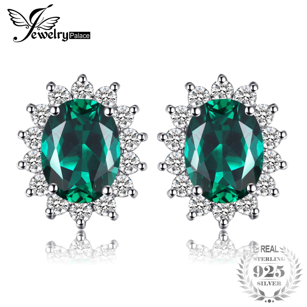 Jewelrypalace princesa Diana William Kate Middleton 1.1ct creó los pendientes de botón esmeralda 925 regalo de plata esterlina