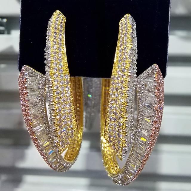 GODKI الفاخرة التسلق الكبير هوب القرط للنساء الزفاف شعبية 3 لهجة الهندسة الكامل ميركو مكعب الزركون النيجيري هوب أقراط