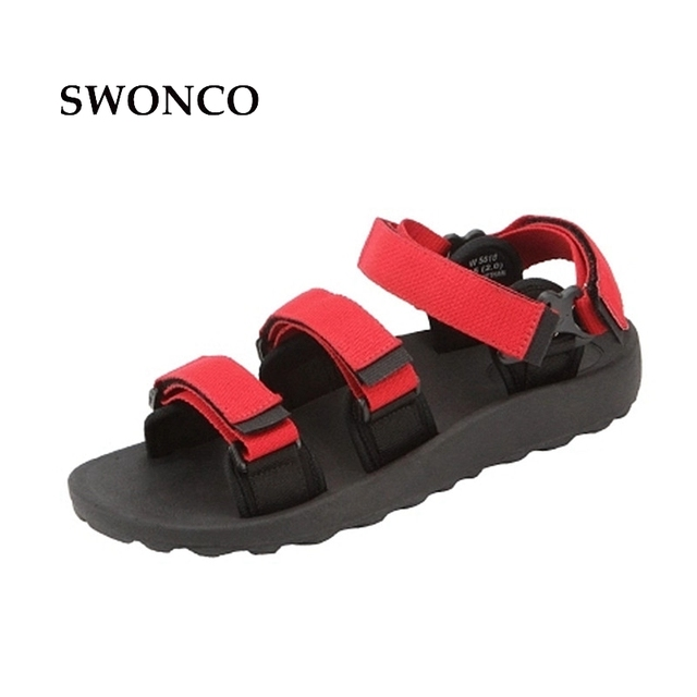 80e402056a00 SWONCO strappy sandals women summer shoes 2019 platform sandals for woman men  black red flat holiday beach sandal size 44