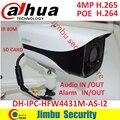 Dahua 4MP H.265 4MP câmera IP bala Full HD IR 80 m IP67 POE cctv câmera de segurança de rede com suporte DH-IPC-HFW4431M-AS-I2