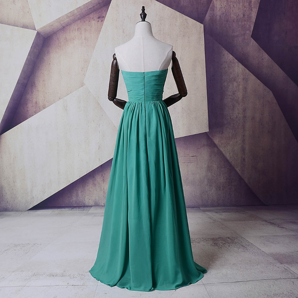 Turquoise long Party Dress Bridemaid Dresses Cheap Sweetheart Pleats ...