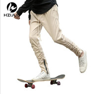 2016 Fashion Kanye West Pants Yeezy Boost Men Skinny Slim Trousers Hip Hop Side With Zipper