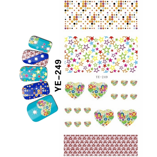Uprettego Nail Art Beauty Water Decal Slider Sticker Cartoon Finger Sweet Hearts Cherry Funny Faces
