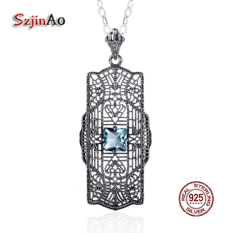Szjinao Pure 925 Sterling Silver Rose Flower Leaf Pattern Pendant Statement Necklaces for Women Aquamarine Chokers Jewelry