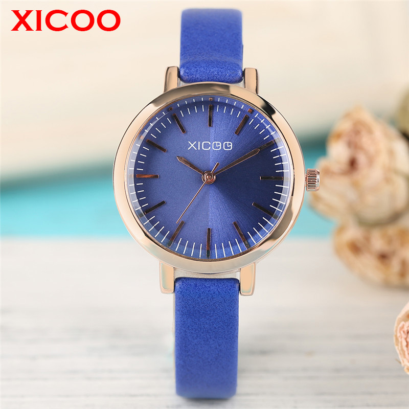 XICOO Fashion Women Watch Aquamarine Dial Rose Golden Case Refined Business Female Brand Wristwatch All-match Casual Lady Clock