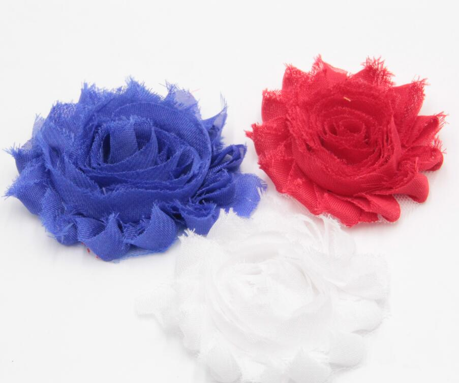 """Red White Blue American July 4th Day 2.5"""" Chic Shabby Frayed Flower 60pcs/lot Children Hair Accessories DIY Headbands Wholesale"""
