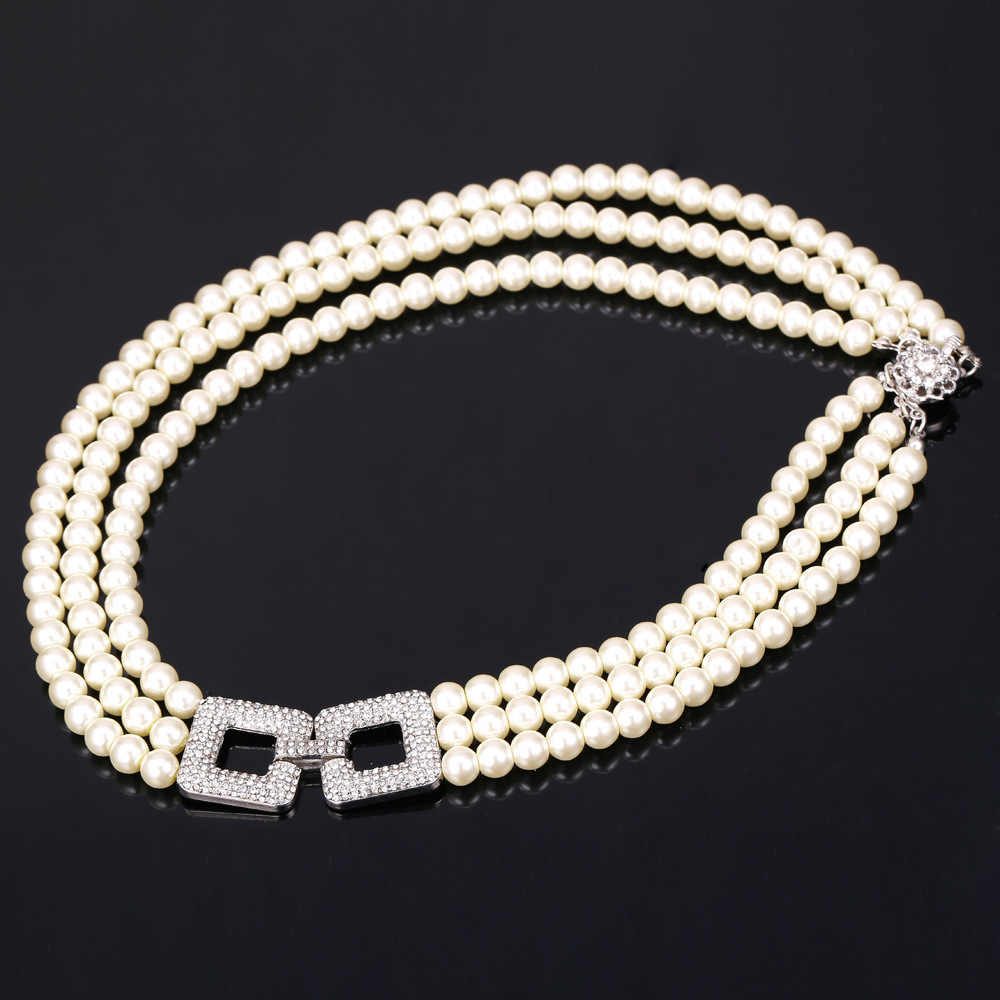 U7 Wedding Simulated Pearl Jewelry Set For Women Party Rhinestone Multi Layers Lady Necklace Sets S744