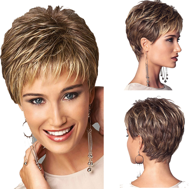 High quality Synthetic African american short wigs Synthetic pastel wigs white worker clothing  for women Short curly gold wigs