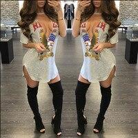 New Women Halter Dress 2017 Fashion Side Split Sexy Short Sleeve V Neck T Shirt Dress