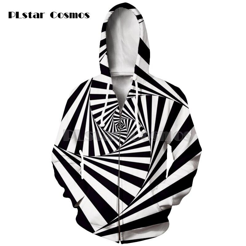 New Men women 3D printed Stereoscopic Hoodies Black And White Vertigo zipper Hoodies Space Long Sleeve sweatshit pullover coat