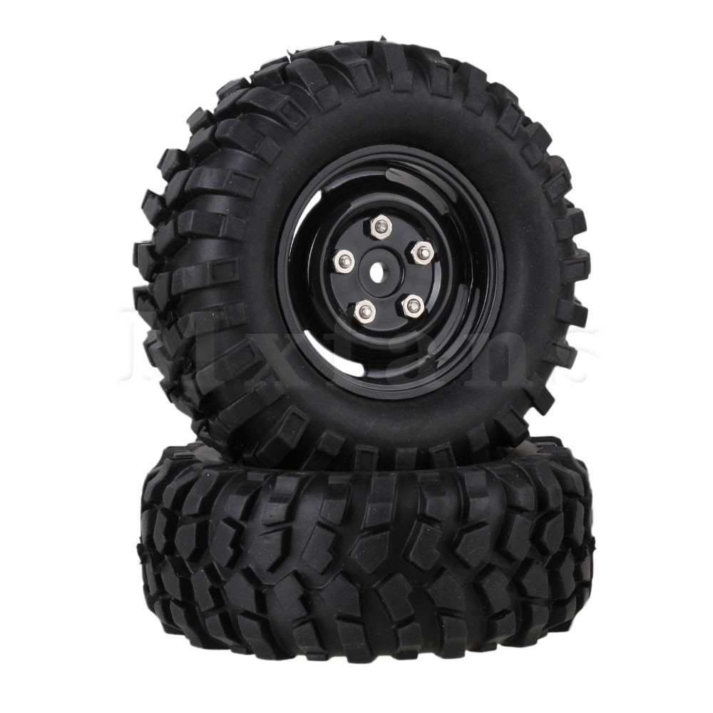 Mxfans 4 x RC1:10 Rock Crawler Rubber Tires + Plastic Wheel Rims w/Screws & Nuts mxfans 4pcs rc 1 10 rock crawler car black plastic wheel rim
