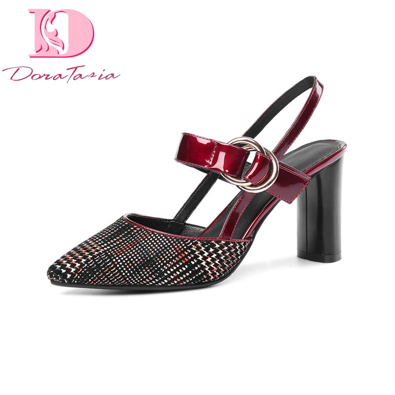 DoraTasia New women Genuine Leather Buckle Strap High Heels Solid Shoes Woman Casual Summer Sandals Black Big Size 33-43