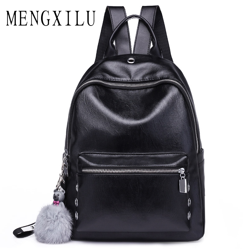 ENGXILU Fashion Hot Sale Solid Backpacks For Girls Fashion Women Backpack Female Hair Ball Daypack SchoolBag Pu Leather Sac New fashion solid women backpack high quality leather backpack female daily backpack for teenage girls schoolbag leisure daypack sac
