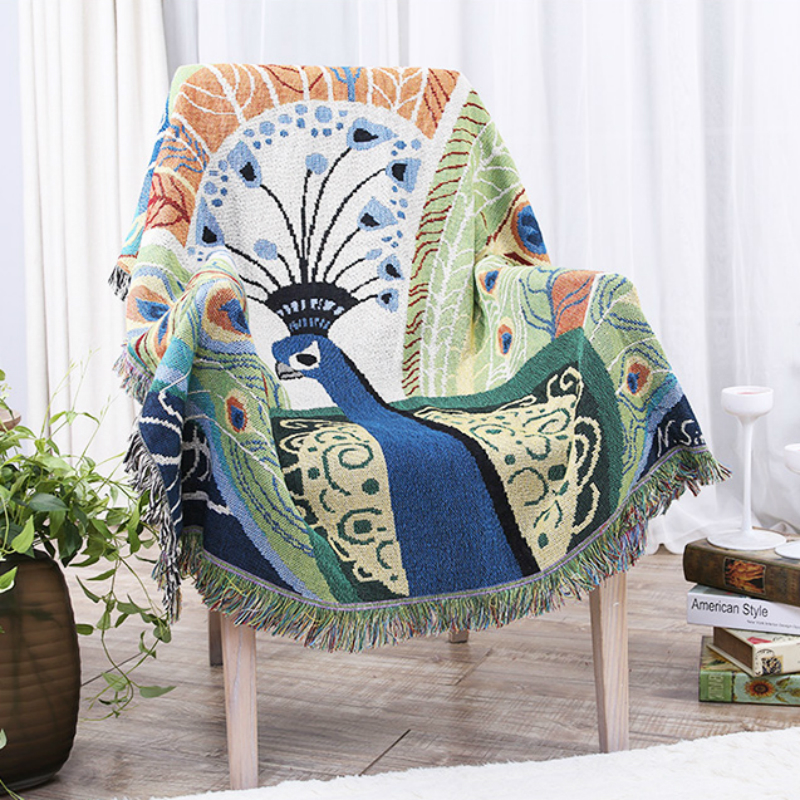 Southeast Asian Peacock Throw Quality Heavy Knitted Blanket on Bed Sofa Home Decorative Blanket Tapestry Sofa Throw Bed Cover