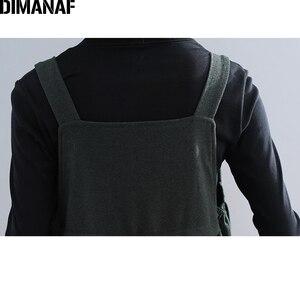 Image 5 - Dimanaf plus size vestido longo feminino grosso inverno senhora vestidos elegantes sem mangas solto casual feminino grandes bolsos vestido irregular