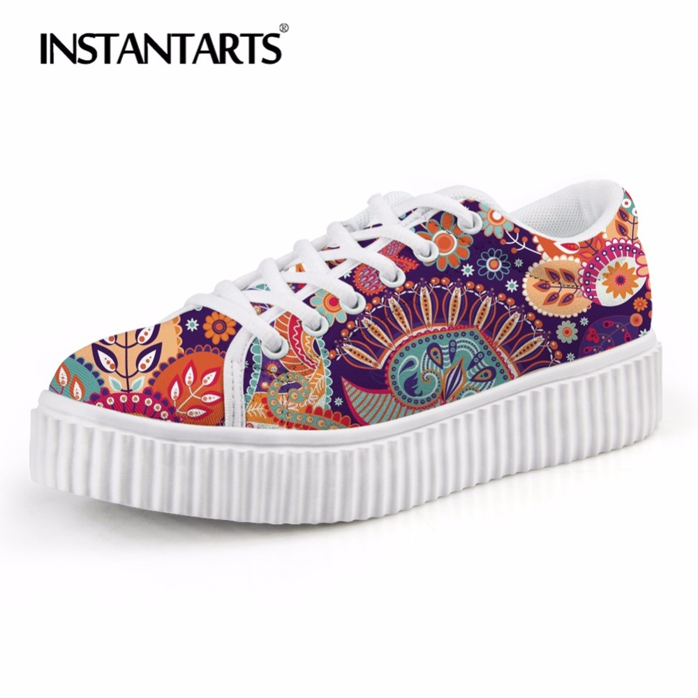 INSTANTARTS Winter Women Flats Shoes Low Top Flat Platform Shoes for Teenager Girl 3D Traditional African Print Woman's Footwear