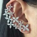 fashion women trendy accessories brincos copper metal AAA cubic zircon snowflake  asymmetric stud earring ear cuff