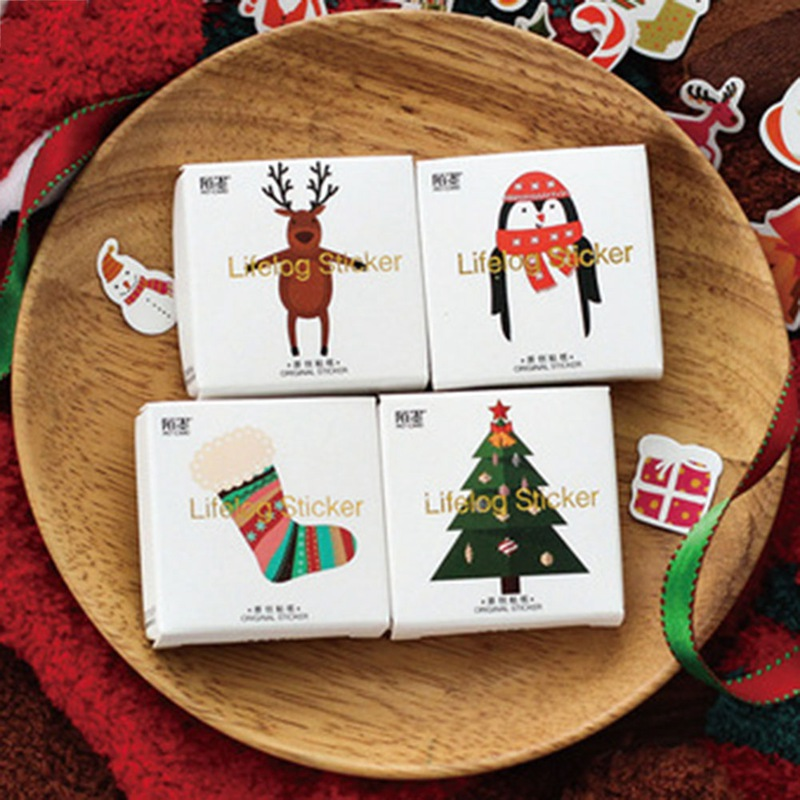 50 pcs/bag Cute Christmas theme adhesive paper sticker Christmas tree decoration DIY Card Scrapbooking stationery paper stickers цена 2017