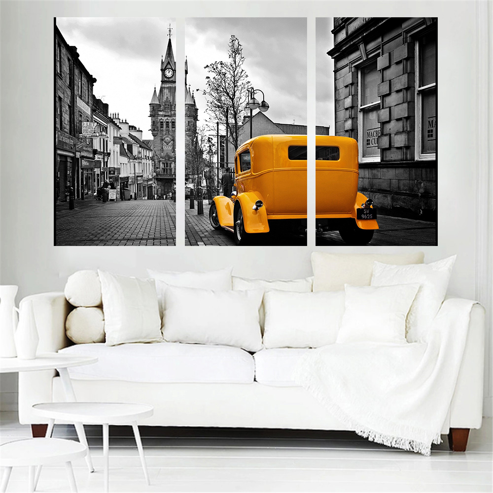 Mordern Art Canvas Painting Yellow Car Wall Art Home Decoration London Road Scenery Oil  ...