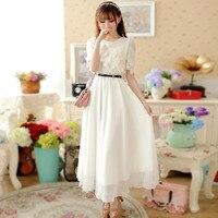 plus size women clothing dress 2016 summer style korean Bohemian beach evening party white lace dress women vetement femme A0219