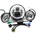High low beam 7 inch Harley Daymaker LED Headlight with & Passing Lamps for Harley Motorcycles with Adapter Ring Angle Eyes