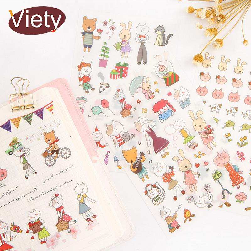 6 Sheets/lot Cartoon Cat Rabbit Child Paper Sticker DIY Scrapbooking Diary Album Sticker Paste Stationery School Supplies