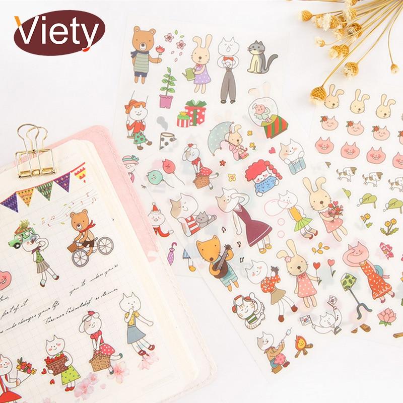6 Sheets/lot Cartoon Cat Rabbit Child Paper Sticker DIY Scrapbooking Diary Album Sticker Paste Stationery School Supplies
